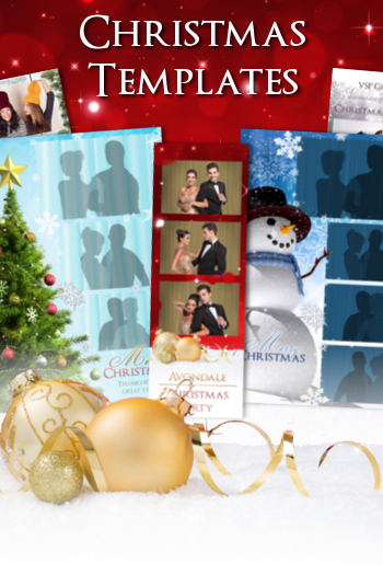 Christmas photo booth templates and photo strip layouts and designs.