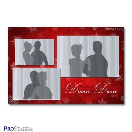 6x4 Christmas photo booth template in red with white snowflakes. It's best for formal, classy, or elegant events and parties.