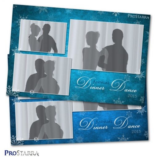 Beautiful blue photo booth template design. For an elegant Christmas party or event.