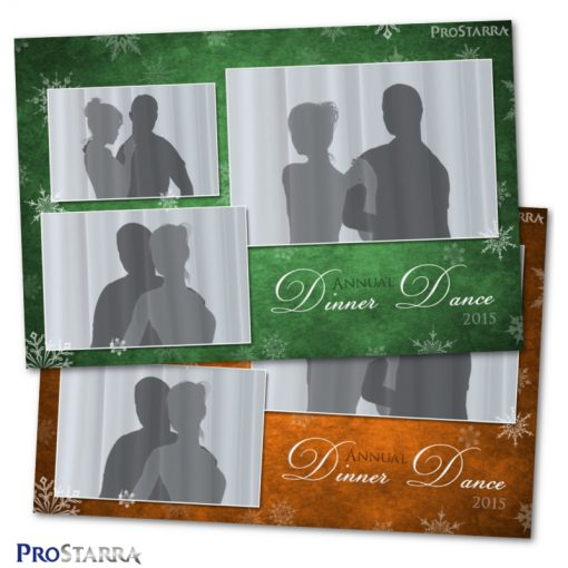 Green and orange postcard style photo booth template layout for Christmas.