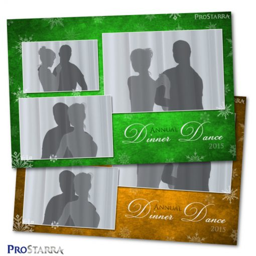 6x4 Christmas photo booth template. Fancy and elegant in green and gold with snowflakes.