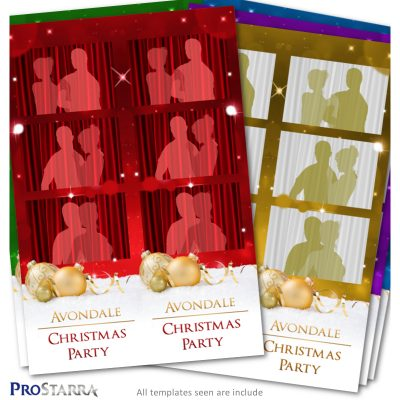 2x6 Christmas photo booth template layout package with ornaments and sparkles.