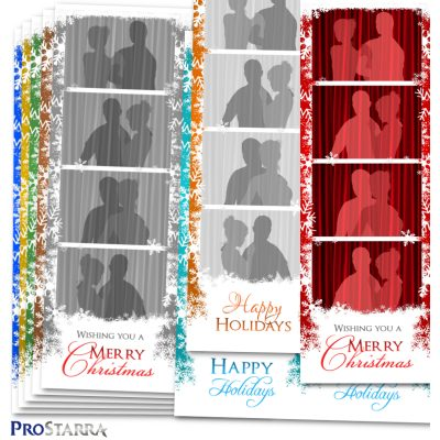 2x6 photo booth strip template layout designed with Christmas snowflakes.