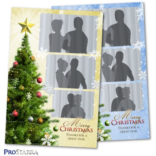 Holiday season photobooth layout design in gold and blue.
