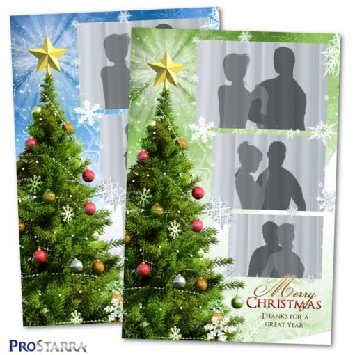Christmas tree photobooth template design with snowflakes in blue and green