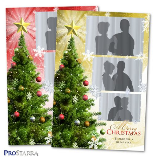 Holiday photobooth template design in red and gold with ornaments and snowflakes