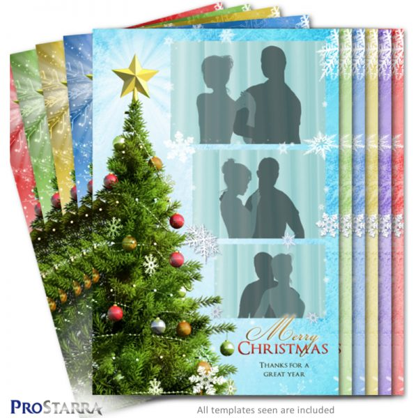 4x6 Christmas tree and snowflake photo booth template layout