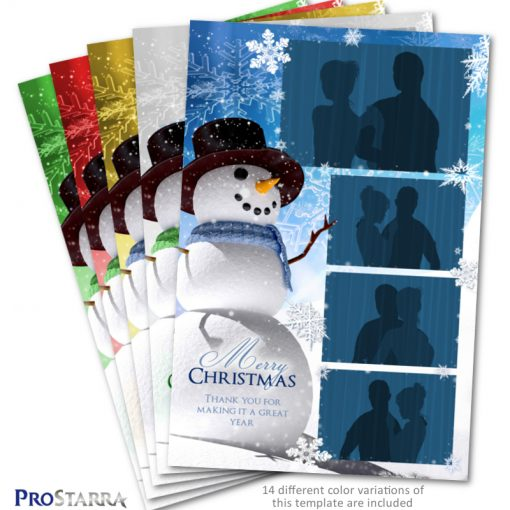 4x6 photo booth template layout designed with a Christmas snowman theme.
