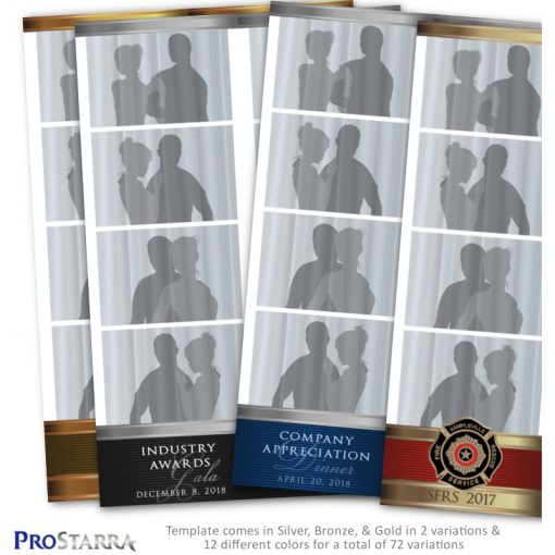 Photo booth photo strip template layout with metal bands that is simple and classy.