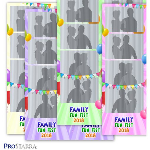 Party photobooth strip template layout in bright colors including green, pink, purple, and yellow.