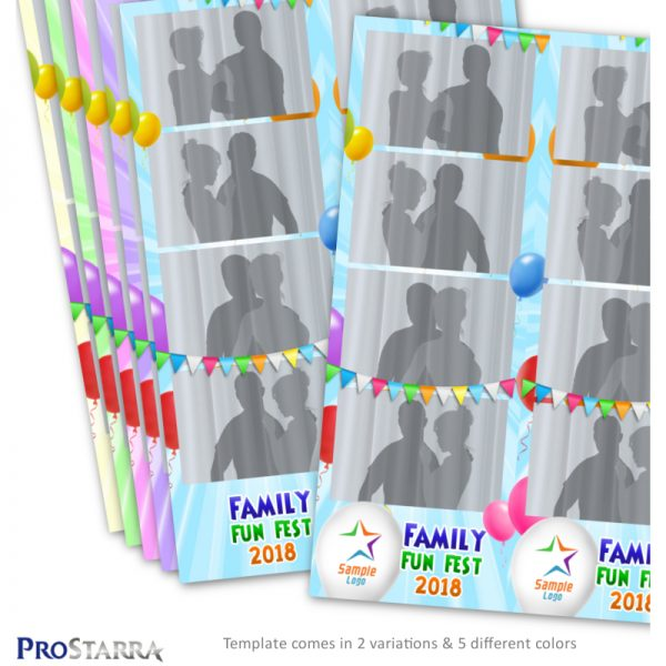 Balloon party and celebration photo strip layout template for photo booths.