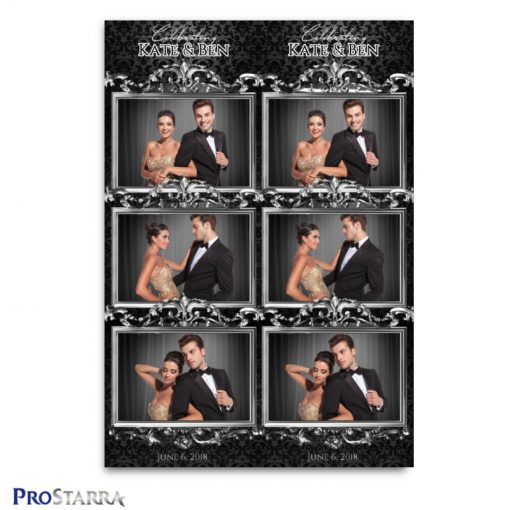 Black classy, chic photo booth template design layout for special and formal events.