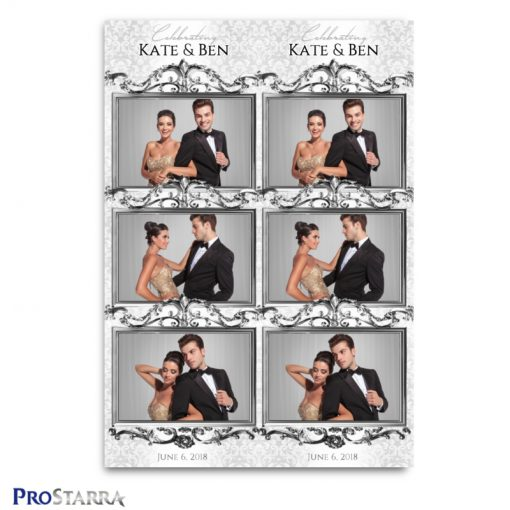 White, formal, chic photo strip design for the photo booth at weddings and formal events..