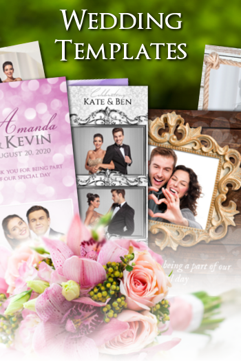Photoshop wedding photo booth templates and photo strip designs and layouts.