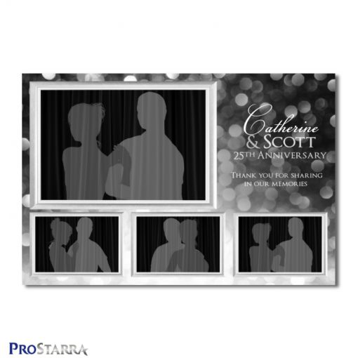 A 4 photo photobooth template layout for a fun, classy 25th anniversery celebration in black and silver..