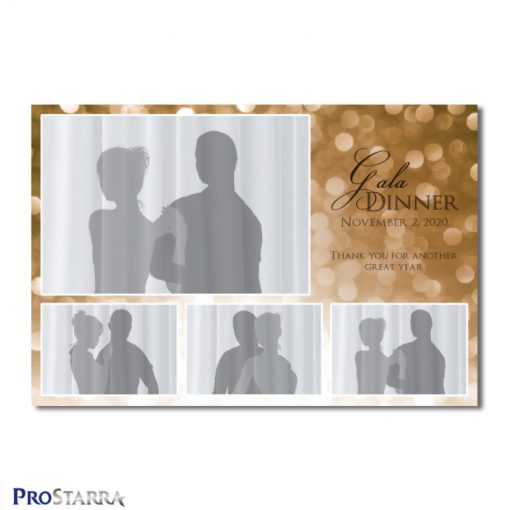 A 4 photo photobooth template layout for a formal or semi-fomal dinner, corporate event, fundraiser or celebration in brown or copper colors.