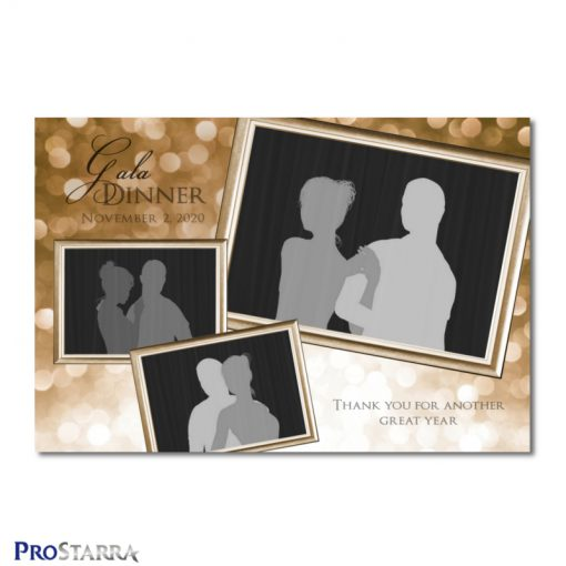 A photobooth template layout for an elegant, classy gala dinner, corporate event, fundraiser or celebration in brown or copper colors.