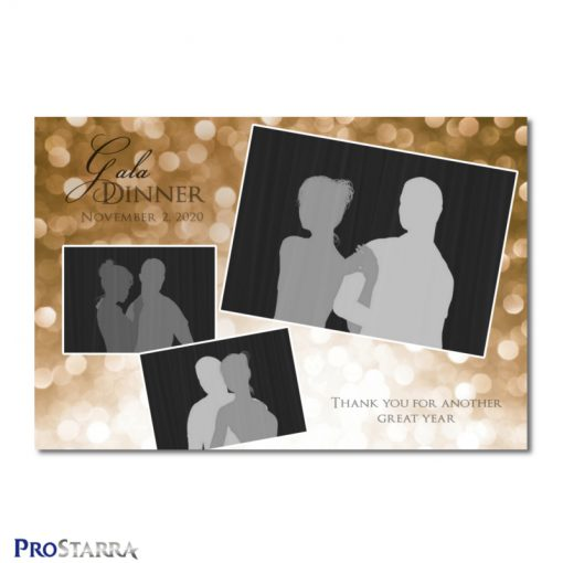 A photobooth template layout for a formal or semi-fomal dinner, corporate event, fundraiser or celebration in brown or copper colors.