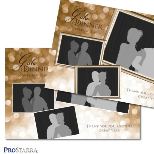 A photobooth template layout for an elegant, classy dinner, corporate event, fundraiser or celebration in brown or copper colors.