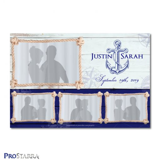 Postcard sized nautical wedding photobooth template layout with a ship anchor..