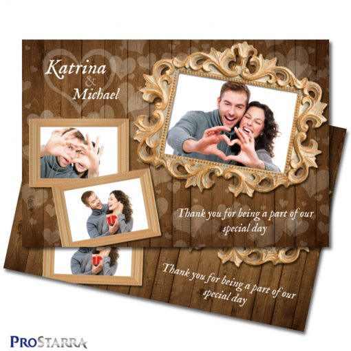 Lots of hearts on a rustic wood wedding photo booth template layout with a chic gold photo frame.