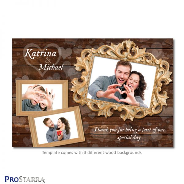 Chic, rustic, wood, wedding photobooth template layout with white hearts..