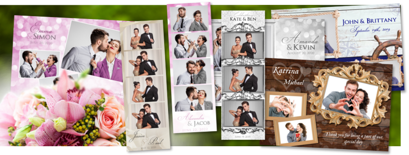 Category for wedding photo booth templates as both classic photostrips and postcard sized layouts.
