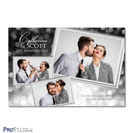 A photobooth template layout for a fun, classy 25th anniversery celebration in black and silver..