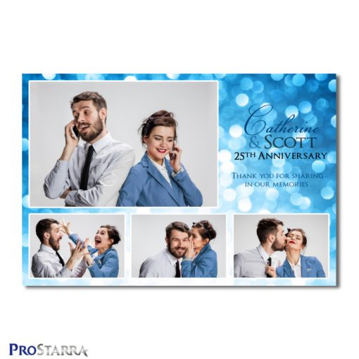 A 4 photo photobooth template layout for a fun, classy anniversery celebration in blue.