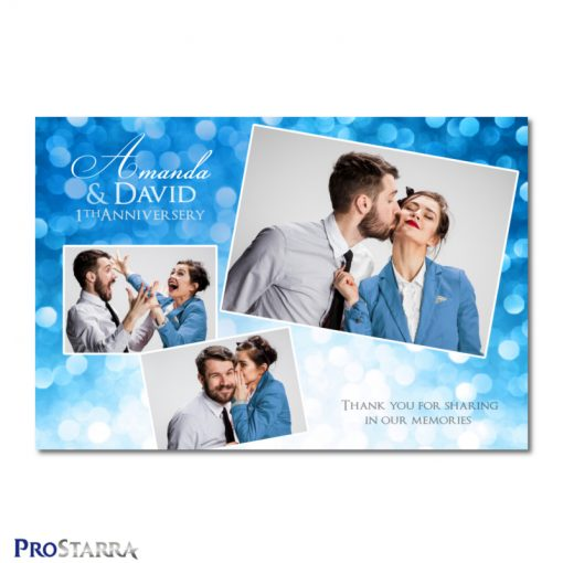 A photobooth template layout for a fun, classy anniversery celebration in blue.
