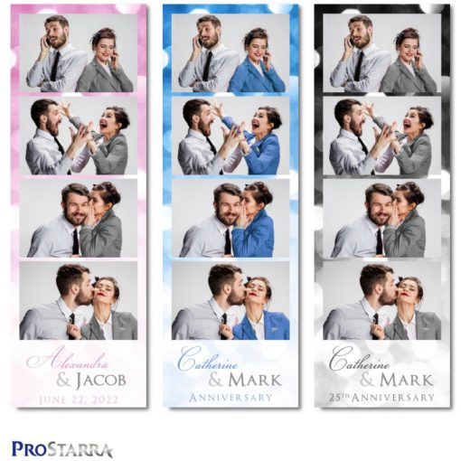 4 photo fun, classy photo booth photo strips for weddings, anniversaries, and special celebrations.