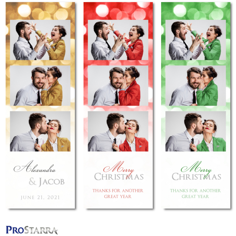 Fun classy Christmas holiday party photo booth photostrips for business and corporate events.