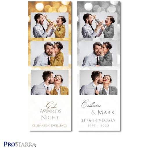 Fun classy gold, silver, and gray photo booth photostrip for anniversary celebrations and corporate events and parties.
