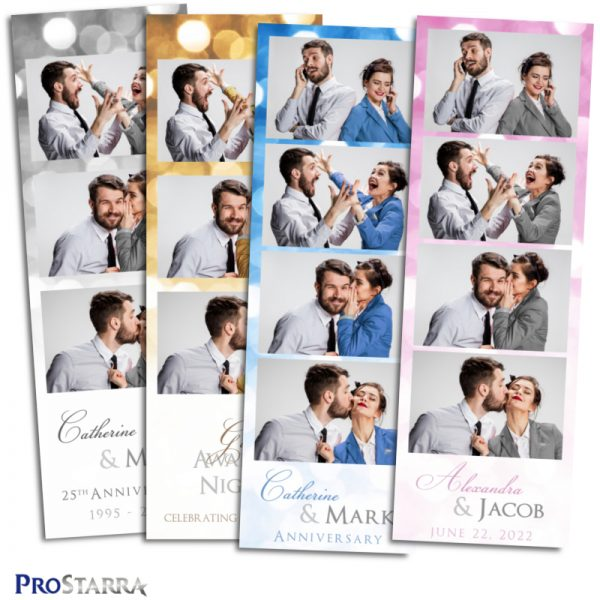 Fun classy photo booth photostrip for celebrations, weddings, anniversaries, and corporate events and parties.