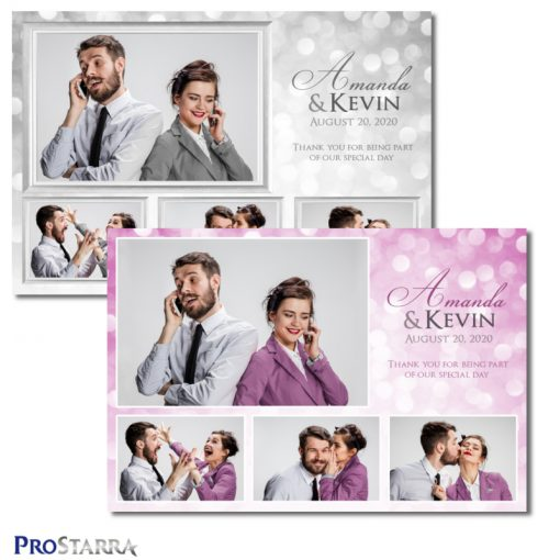 A 4 photo photobooth template layout for a chic, elegant wedding celebration in white or pink.