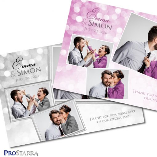 A photobooth template layout for a chic, elegant wedding celebration in white or pink.