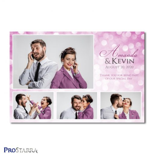 A 4 photo photobooth template layout for a simple, chic, elegant wedding celebration in pink.