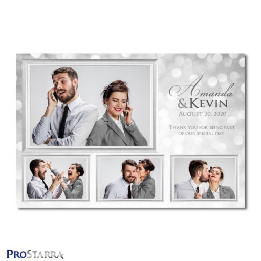 A 4 photo photobooth template layout for a classy, chic, elegant wedding celebration in white and silver.