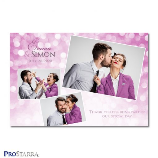 A photobooth template layout for a simple, chic, elegant wedding celebration in pink.