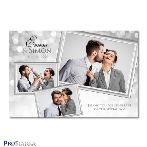 A photobooth template layout for a classy, chic, elegant wedding celebration in white and silver.