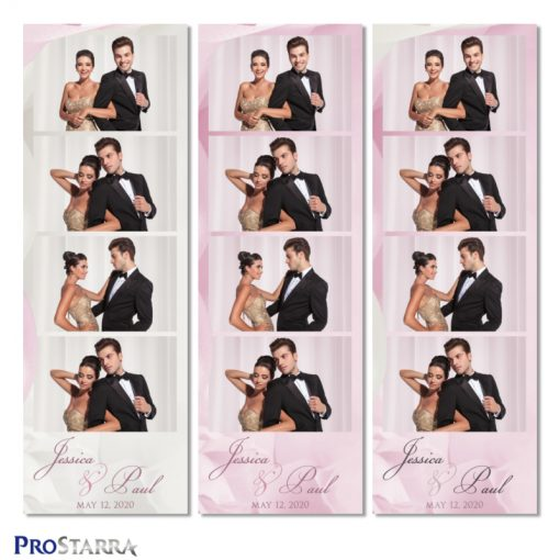 Simple, elegant wedding photobooth photostrip template layout in pink.