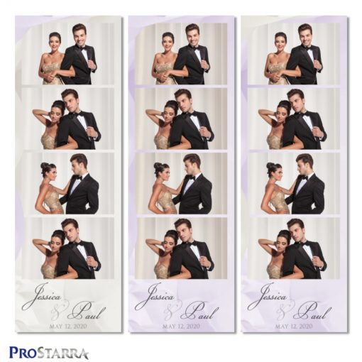 Simple, elegant wedding photobooth photostrip template layout in purple.