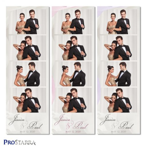 Simple, beautiful wedding photobooth photostrip template layout in white with a bit of pink and purple.