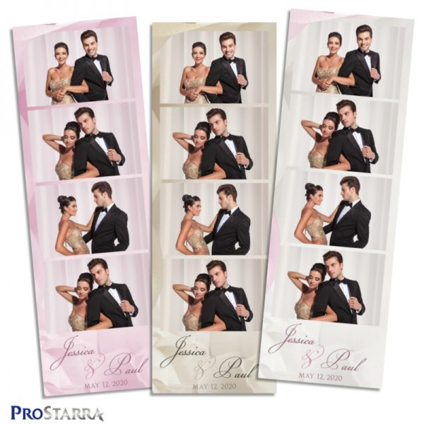 Simple, elegant wedding photobooth photostrip template layout in white and pink.