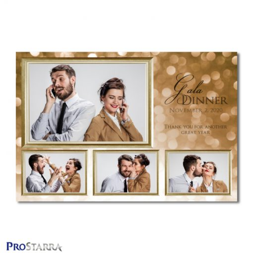 A 4 photo photobooth template layout for an elegant, classy gala dinner, corporate event, fundraiser or celebration in brown and gold colors.