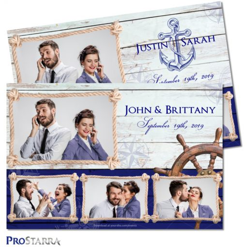 Postcard sized nautical wedding photobooth template layout.