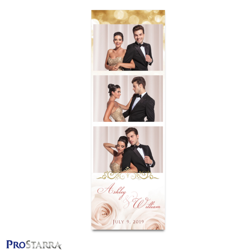 Romantic pink roses and gold sparkle on a classic style photostrip template layout.