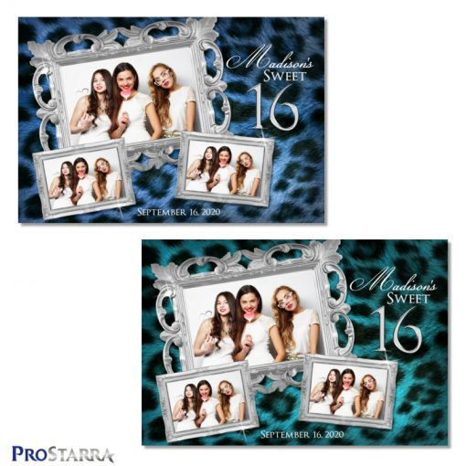 Fun, elegant sweet 16 photo booth templates in blue and teal colored leopard fur with silver frames and bling.