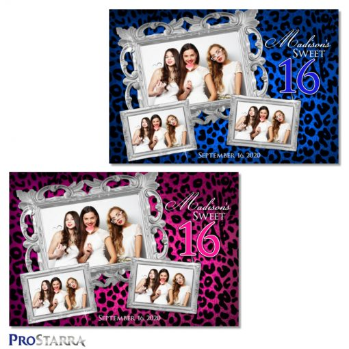 Blue and pink fun, elegant sweet 16 photo booth templates in leopard print with classy silver frames.