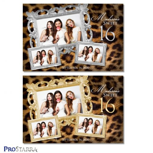 Elegant, lavish sweet 16 photo booth templates with beautiful leopard fur and ornate silver and gold frames.